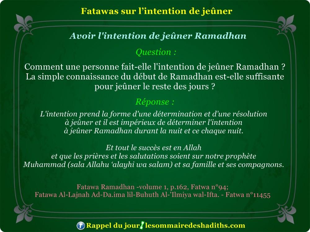 Fatawa du Ramadan - Avoir l'intention de jeuner ramadan