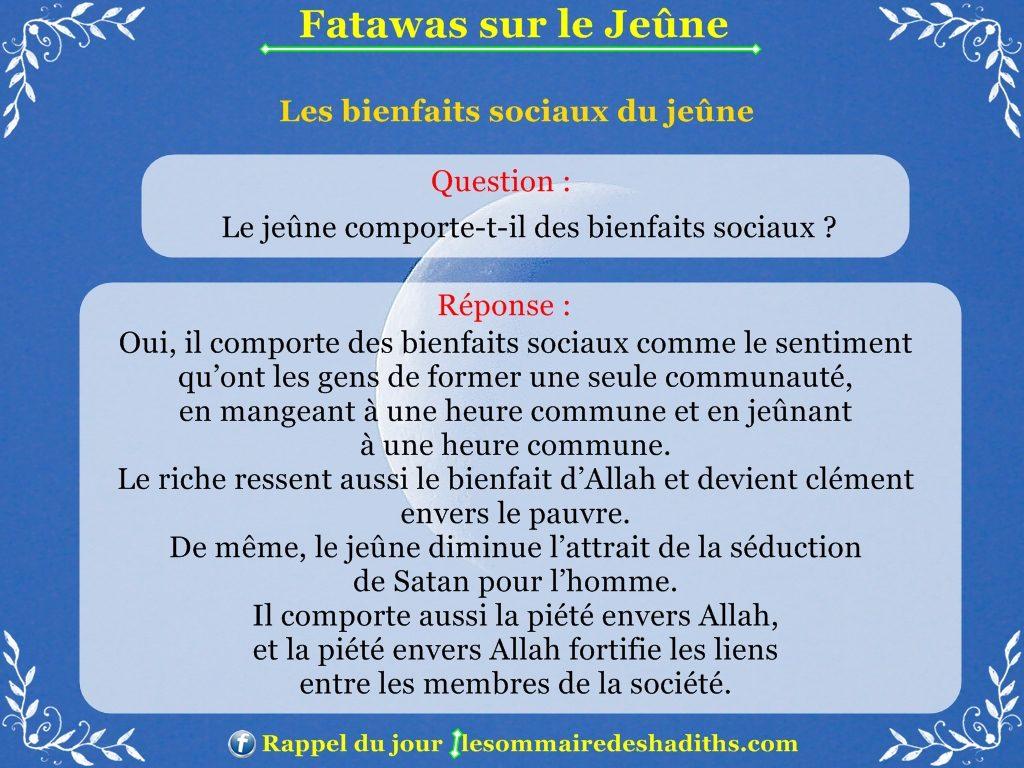 Fatawas sur le Jeûne - Les bienfaits sociaux