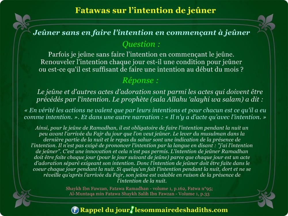 Fatawa du ramadan - Jeûner sans en faire l'intention en commençant à jeûner