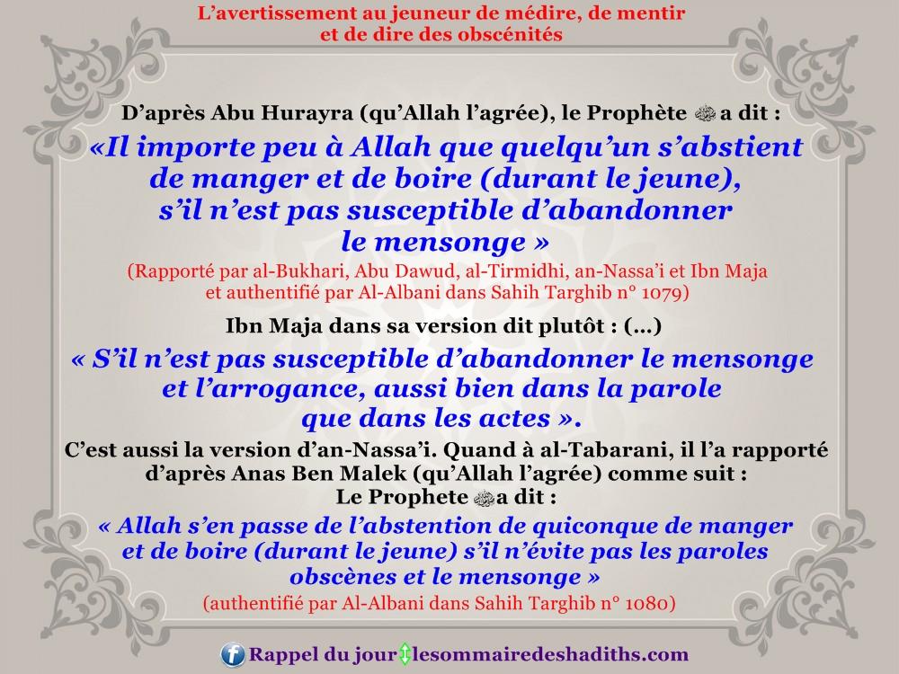 L'avertissement au jeuneur de médire de mentir (Abu Hurayra)