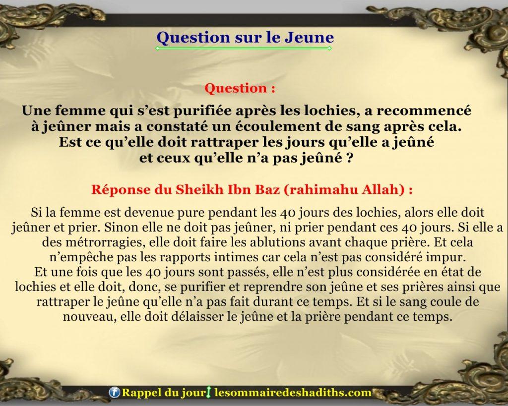 Question sur le jeune - Une femme qui s'est purifiée après les lochies