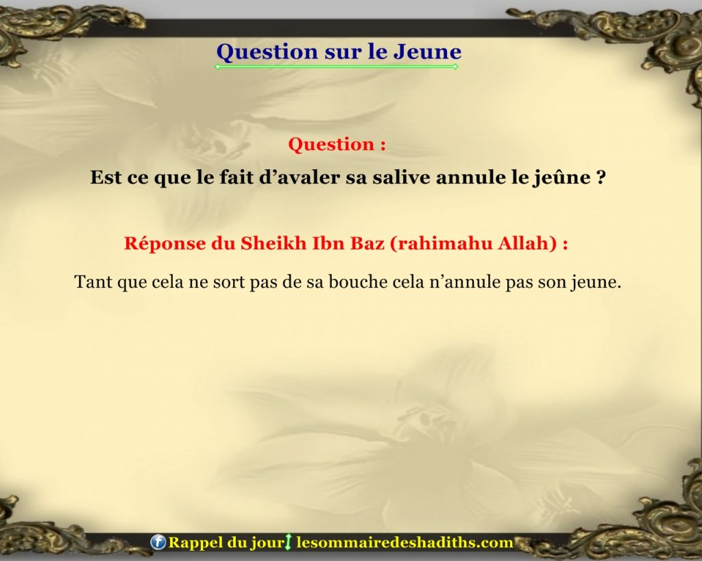 Question sur le jeune - avaler sa salive
