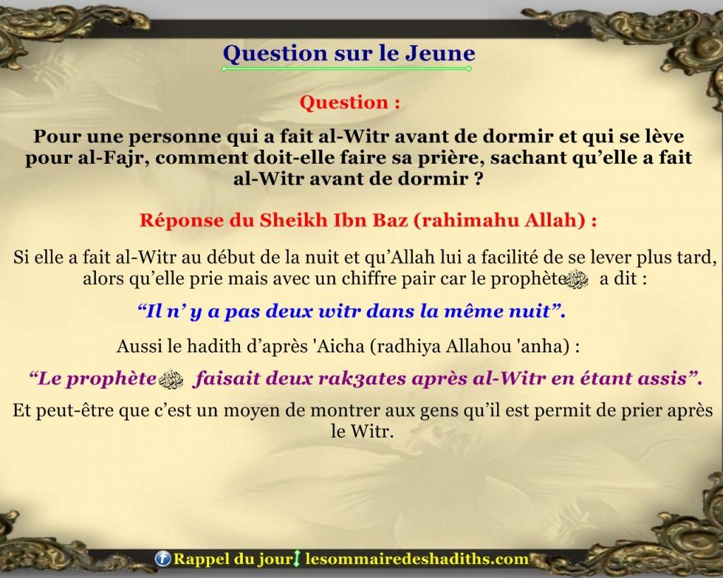 Question sur le jeune - celui qui a fait al-Witr 81