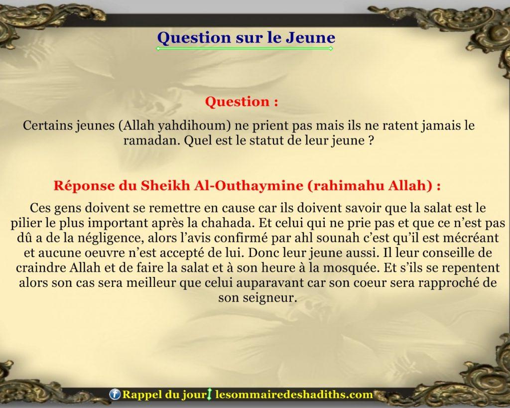 Question sur le jeune - ceux qui ne prient pas et font le ramadan