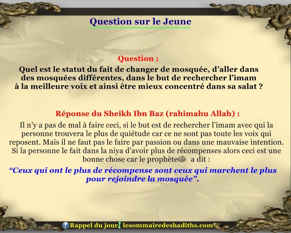 Question sur le jeune - chercher l'imam qui a la bonne voix