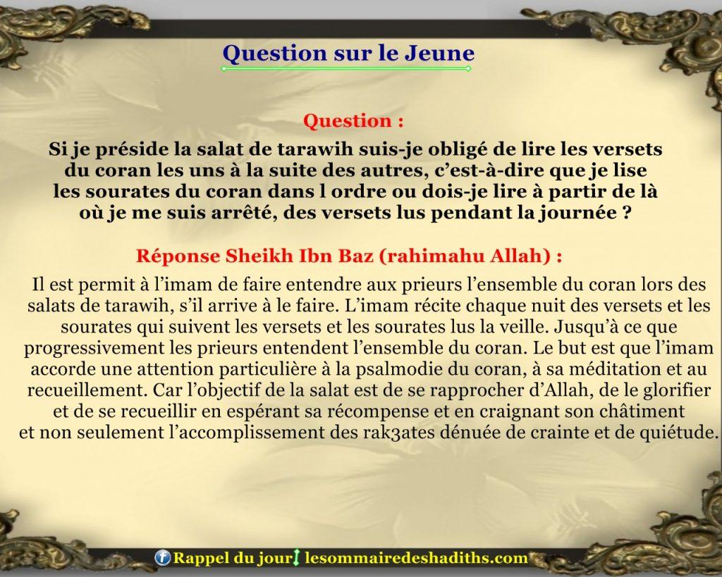Question sur le jeune - comment lire le coran en tarawih