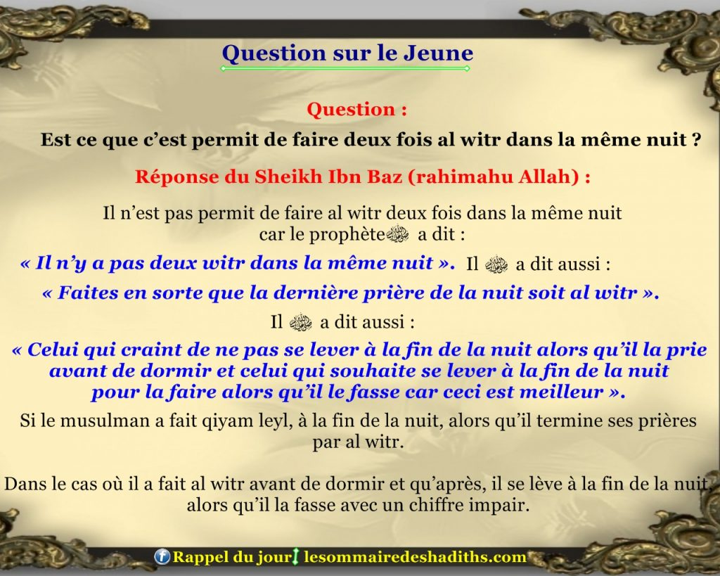 Question sur le jeune - faire 2 witr