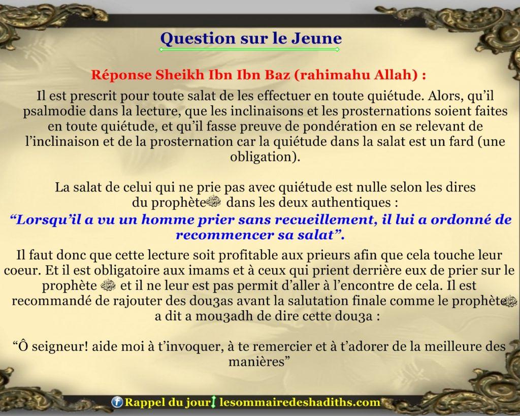 Question sur le jeune - imam qui prie vite