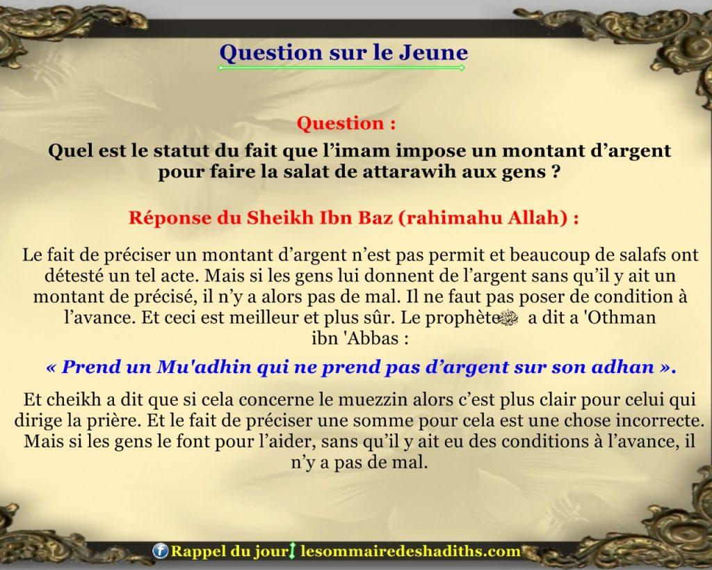 Question sur le jeune - l'imam impose un montant d'argent