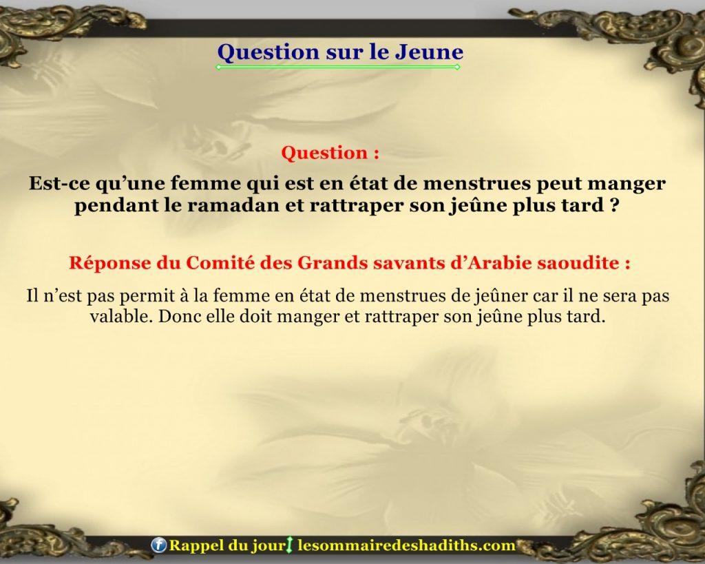 Question sur le jeune - la femme en etat de menstrues