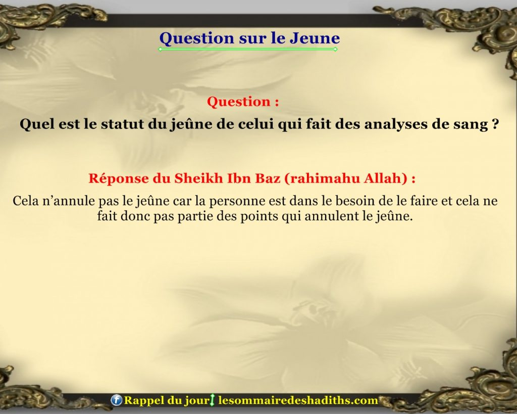 Question sur le jeune - l'analyse du sang