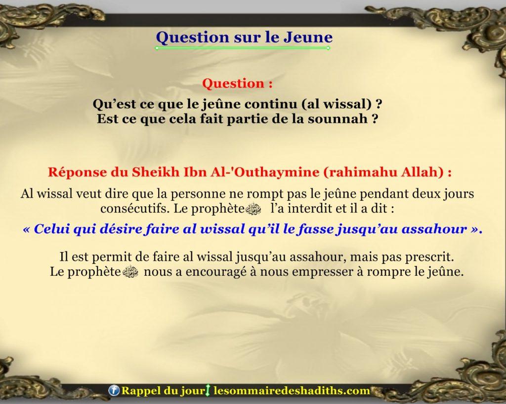 Question sur le jeune - le jeune continue (alwissal)