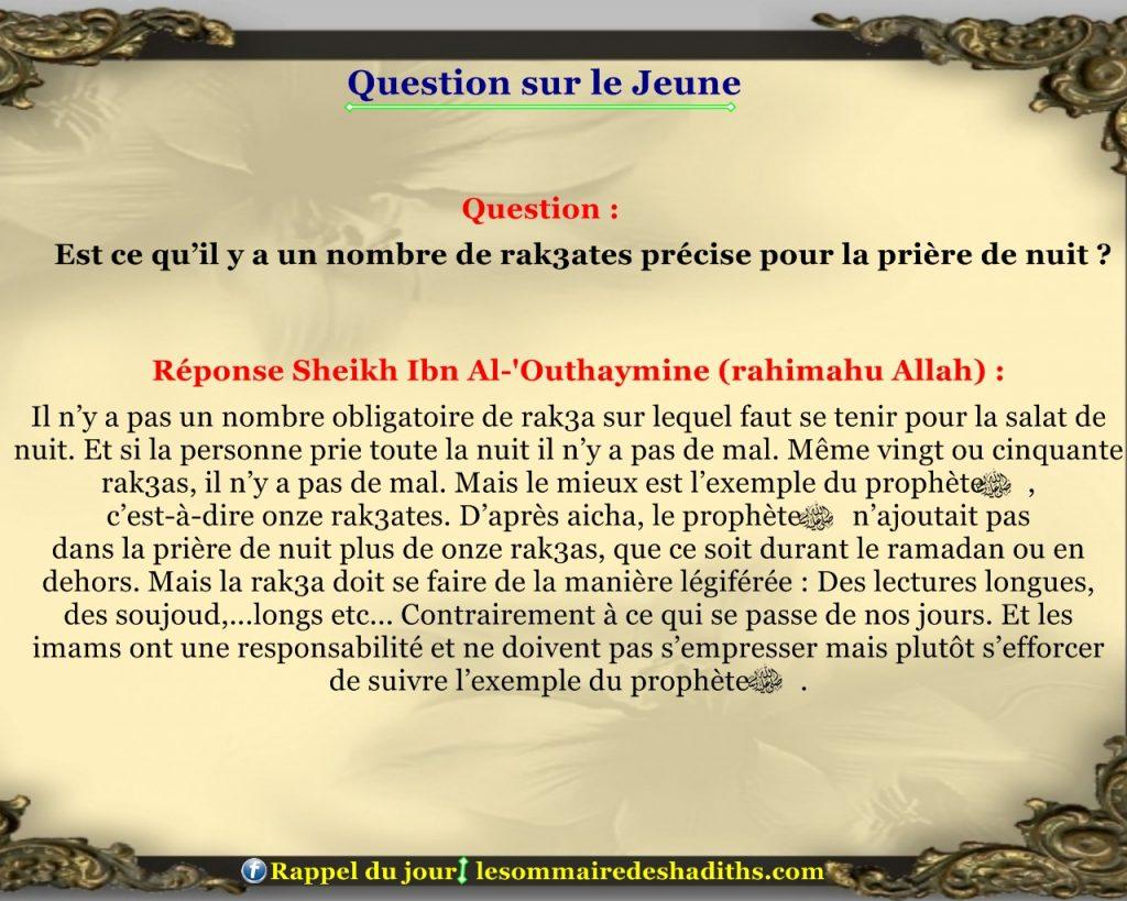 Question sur le jeune - le nombre de rak3ates pour la priere de la nuit