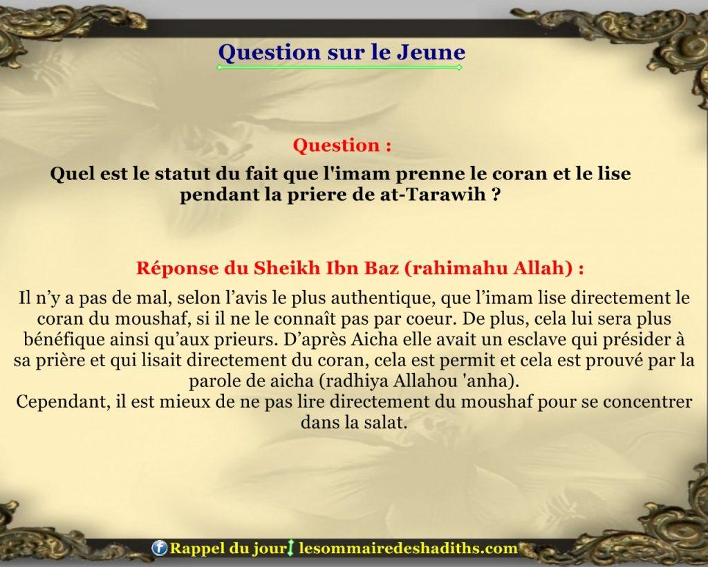 Question sur le jeune - l'imam lis du mushaf pendant tarawih