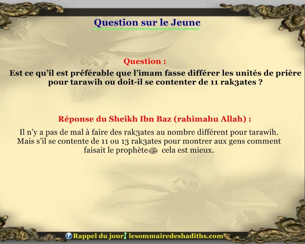 Question sur le jeune - l'imam se contente de 11 rak3ates