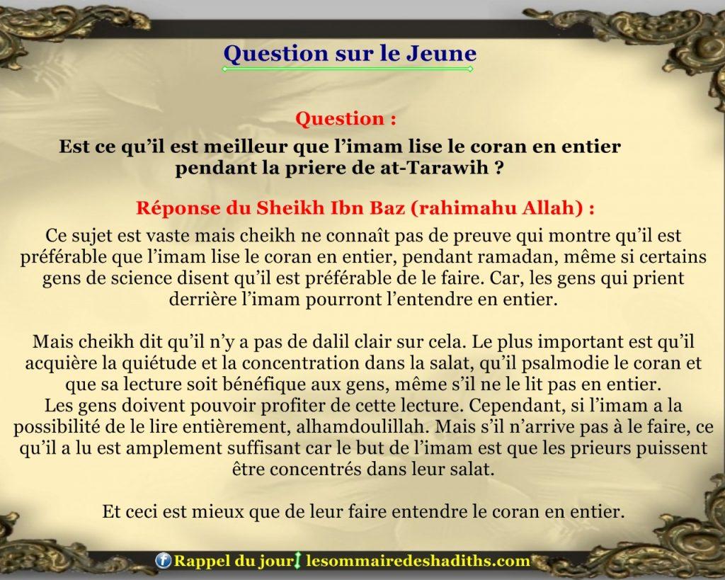Question sur le jeune - lire le coran en entier en tarawih