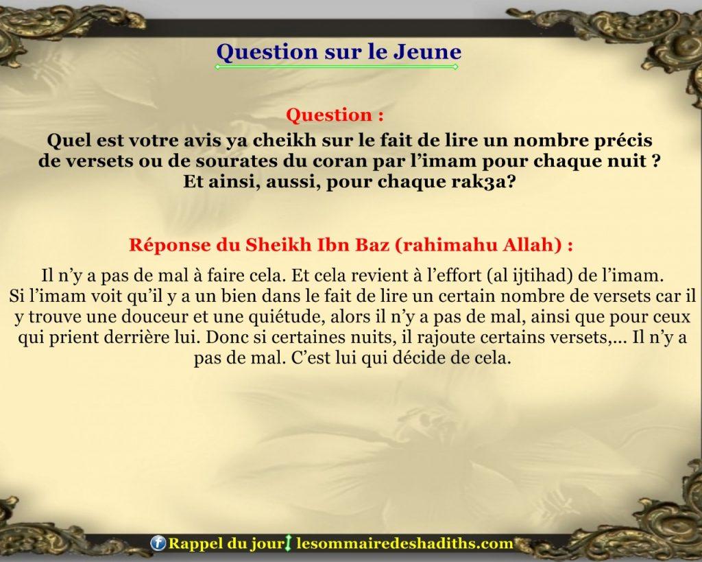Question sur le jeune - lire un nombre precis de verset chaque rak'a