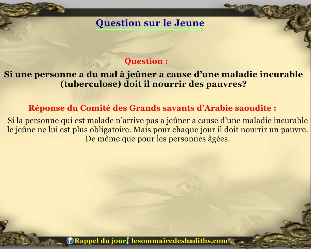Question sur le jeune - maladie incurable