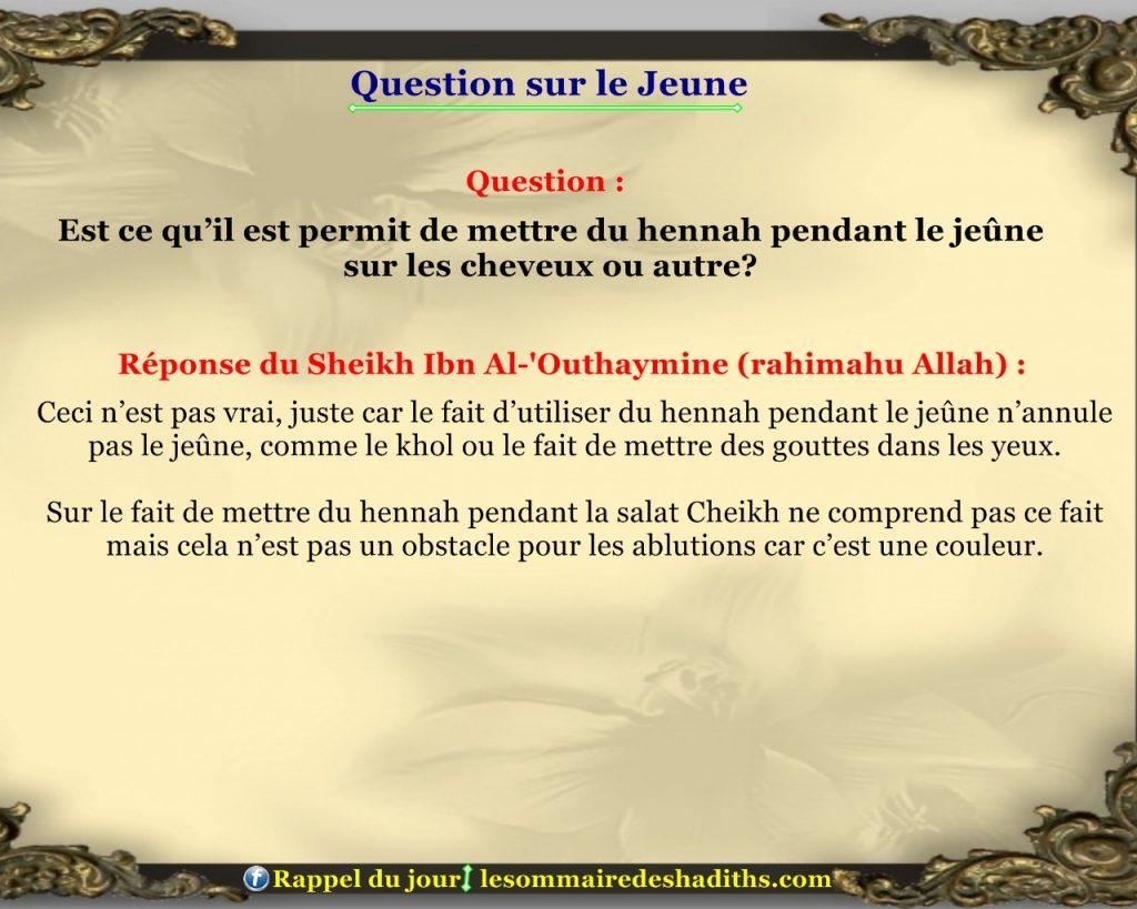 Question sur le jeune - mettre du hennah