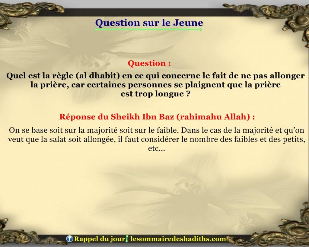 Question sur le jeune - ne pas allonger la priere
