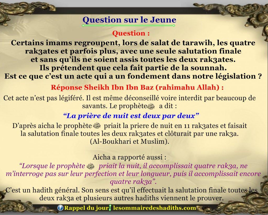 Question sur le jeune - prier tarawih par 4 rak3ates 63