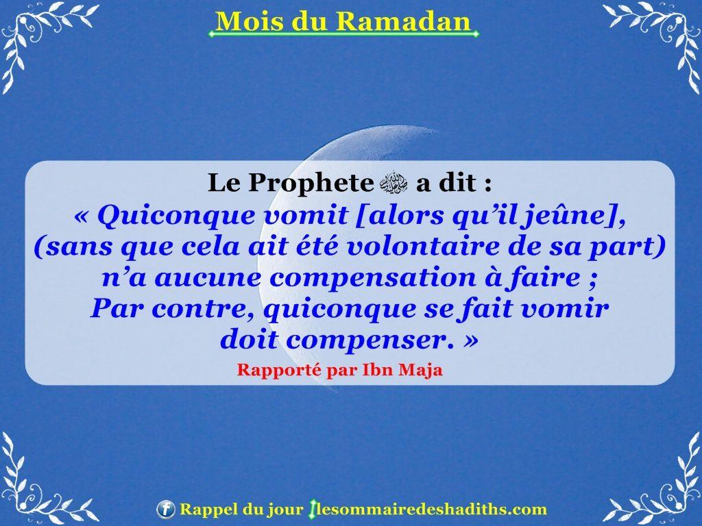 Hadith sur Ramadan - Celui qui vomit involentairement