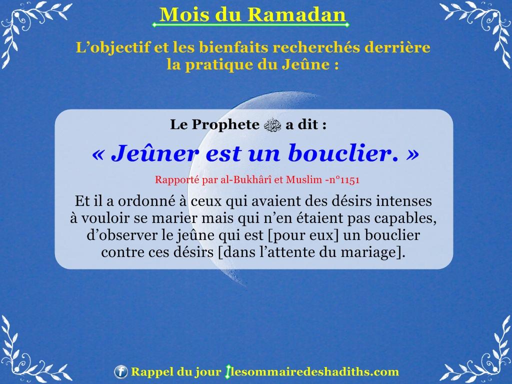 Hadith Ramadan - Le jeune est un bouclier