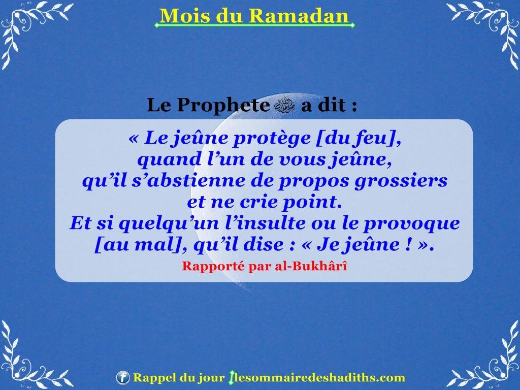 Hadith sur Ramadan - S'abstenir de dire des propos grossiers