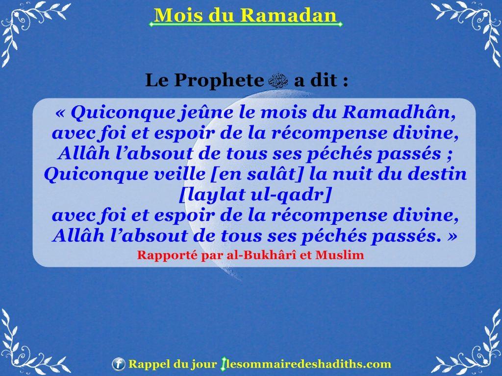 Hadith sur Ramadan - celui qui jeune le mois de ramadan avec foi et sincerité