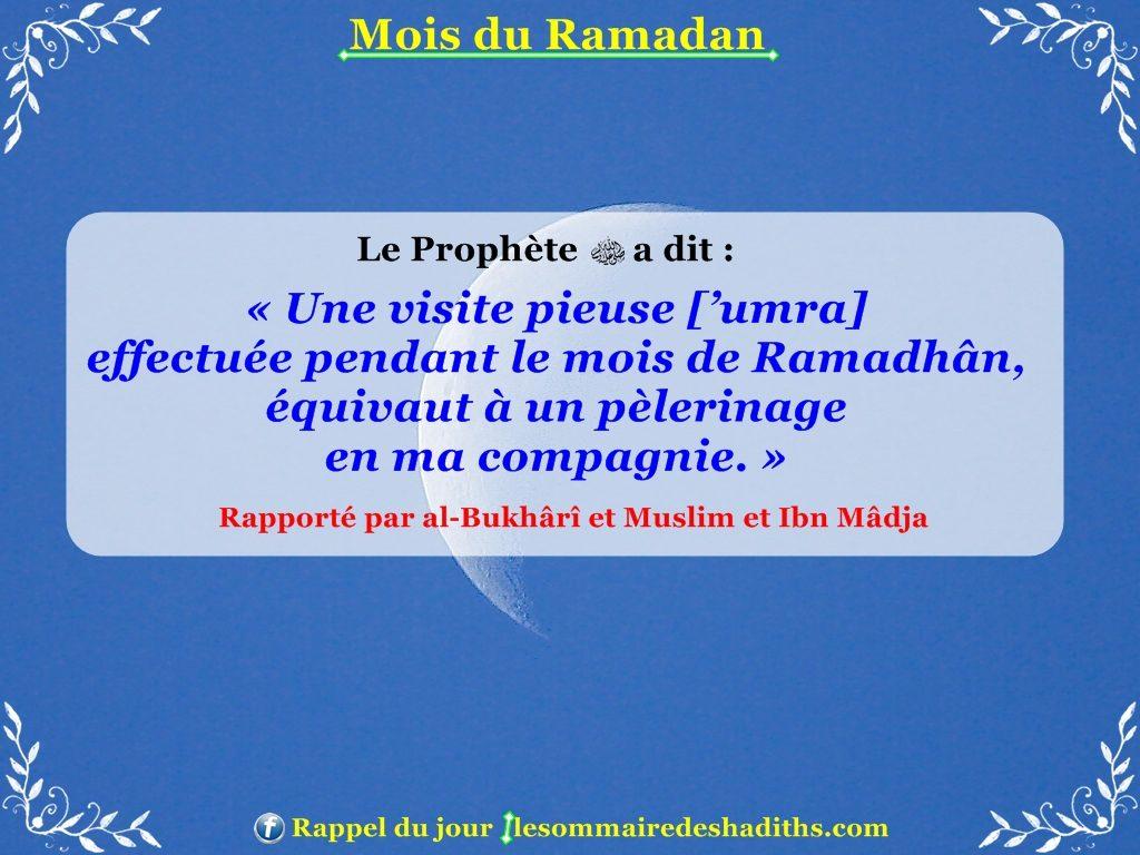 Hadith sur Ramadan - la recompense d'une 'umra en ramadan