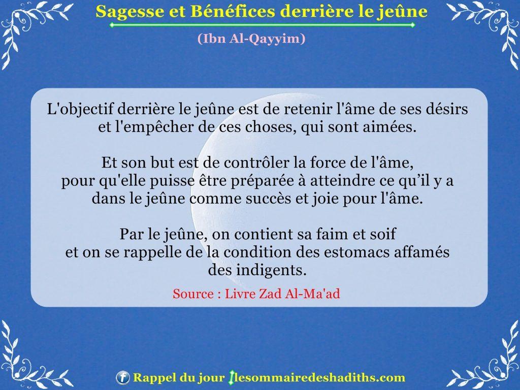 Sagesse et Bénéfices derriere le jeune - Ibn Al-Qayyim - partie 1