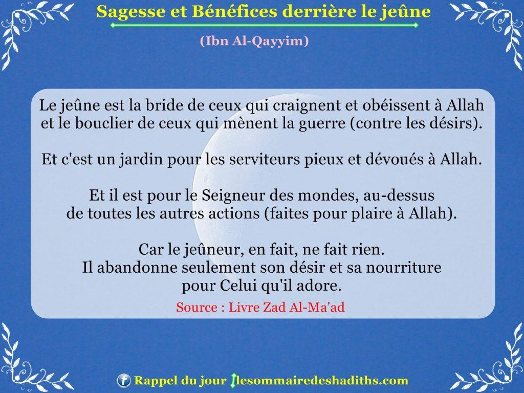 Sagesse et Bénéfices derriere le jeune - Ibn Al-Qayyim - partie 3