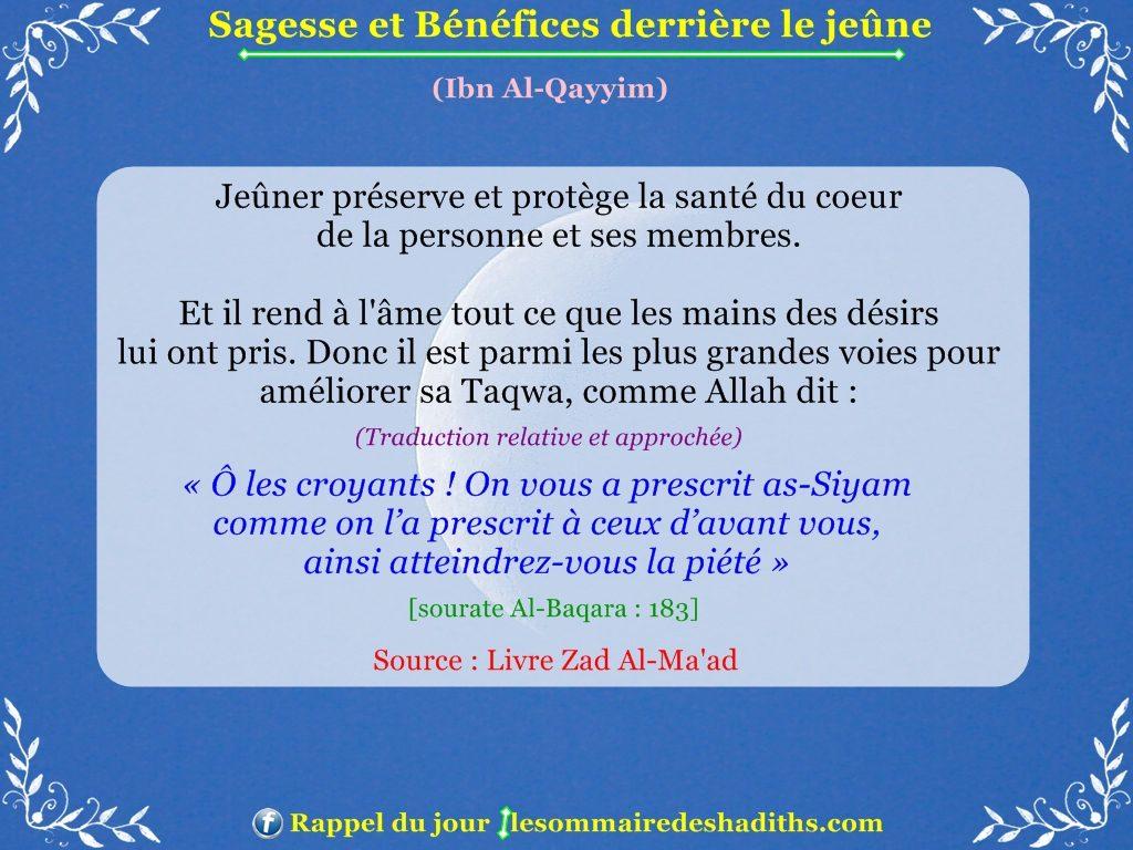 Sagesse et Bénéfices derriere le jeune - Ibn Al-Qayyim - partie 6