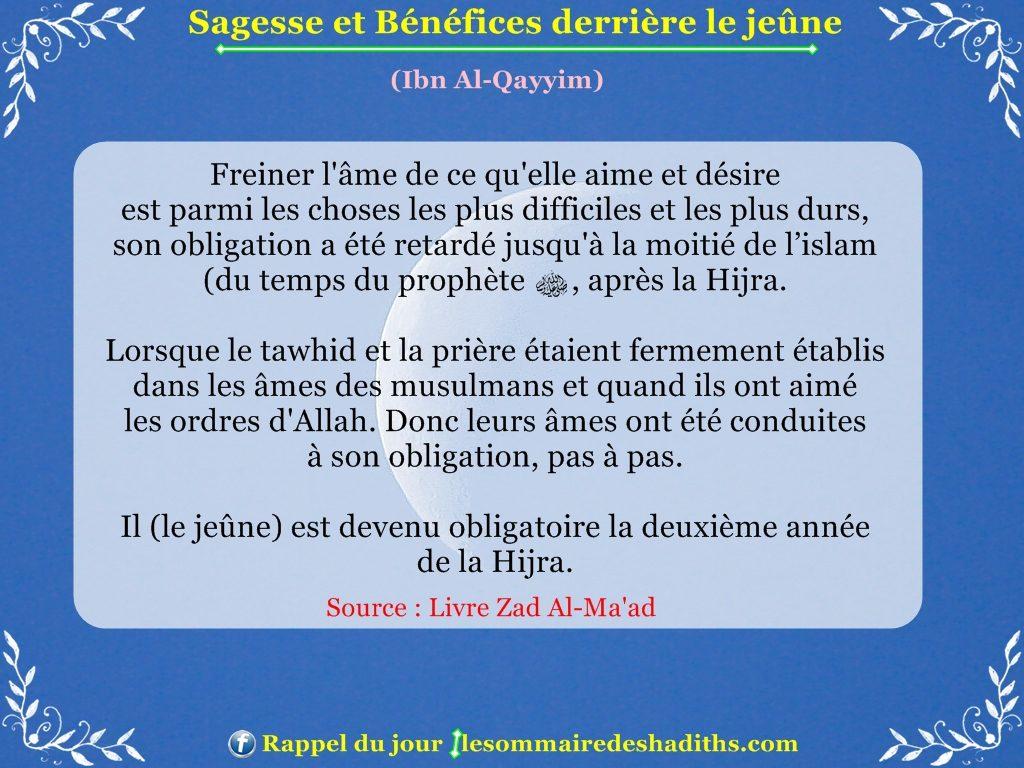 Sagesse et Bénéfices derriere le jeune - Ibn Al-Qayyim - partie 9