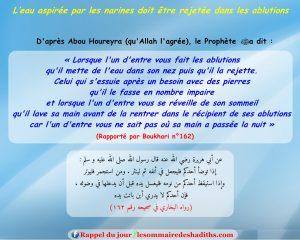 hadith L'eau aspirée par les narines doit être rejetée dans les ablutions (Abu Hurayra)