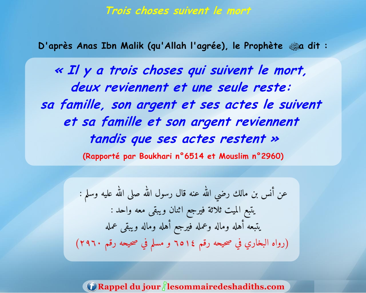 Hadith Trois choses suivent le mort (Anas Ibn Malik)