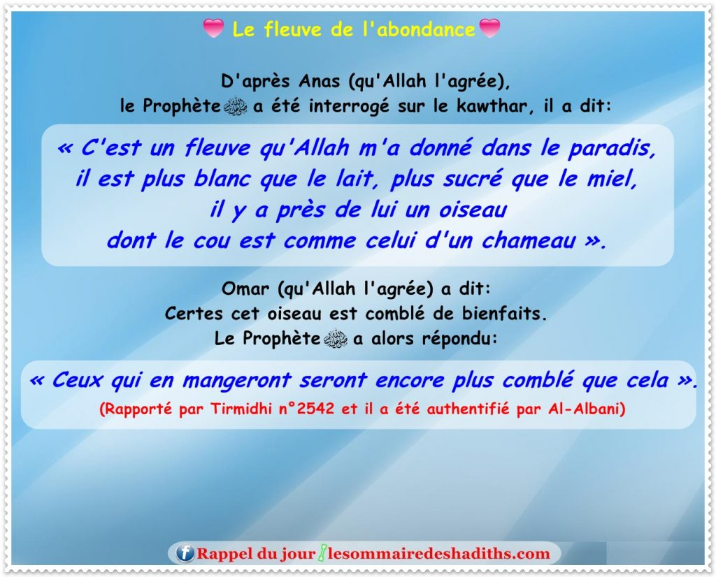 hadith Le fleuve de l'abondance - 2 (Anas)
