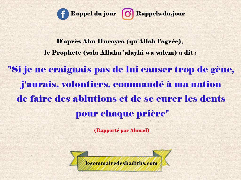 Abu Hurayra - se curer les dents pour chaque prière