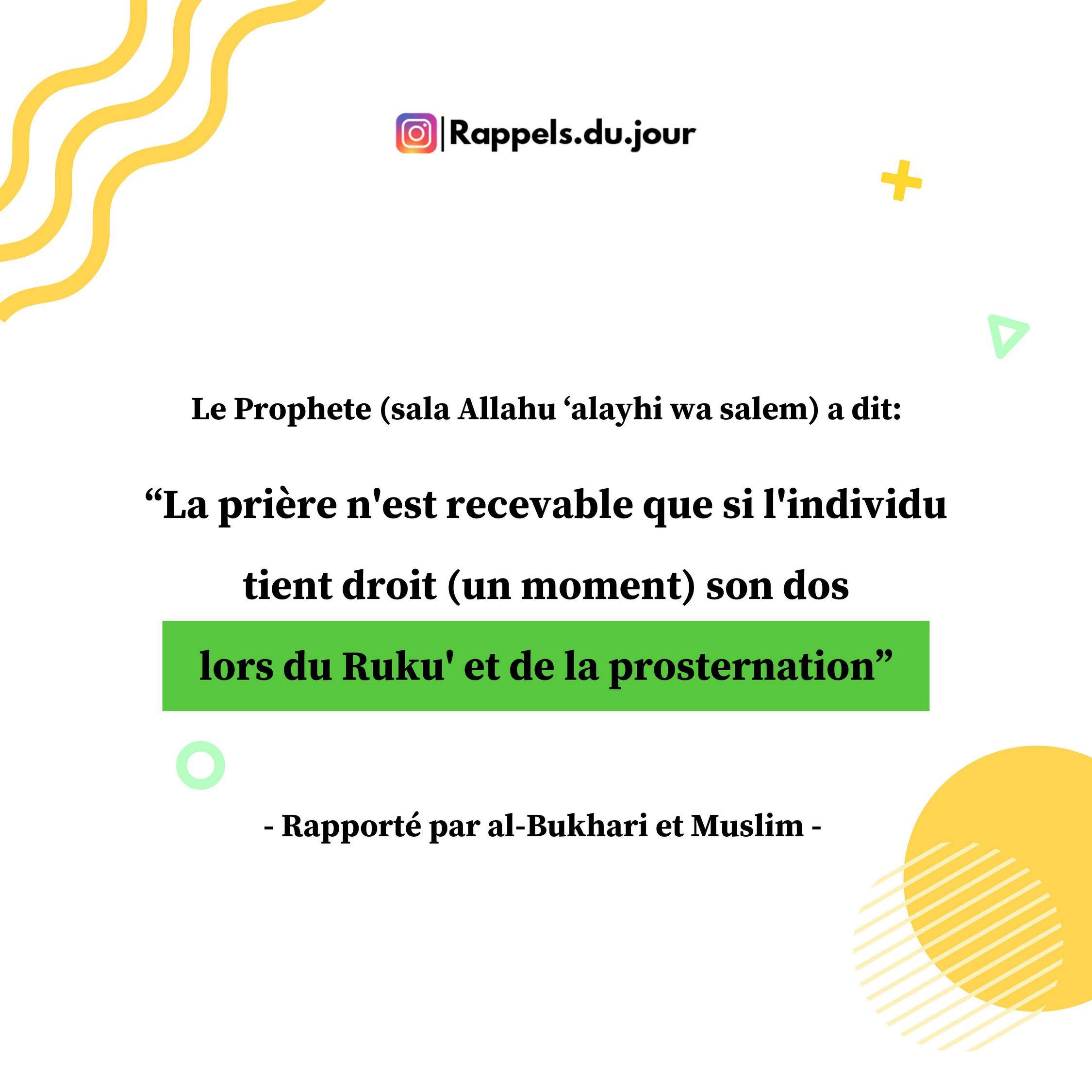 Hadith Abu Mas'ud al-Badri - Avertissement de ne pas accomplir parfaitement le Ruku' et la prosternation